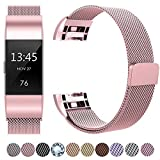 HUMENN Für Fitbit Charge 2 Armband, Luxus Milanese Edelstahl Handgelenk Ersatzband Smart Watch Armbänder mit Starkem Magnetverschluss für Fitbit Charge 2, Small Rosa