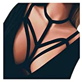 Leey Damen Harness BH Bandage Bra Push Up BH Cage Bra Sexy Spaß Strappy Unterwäsche Trägerloser mit Tunnelzug (S, Schwarz)