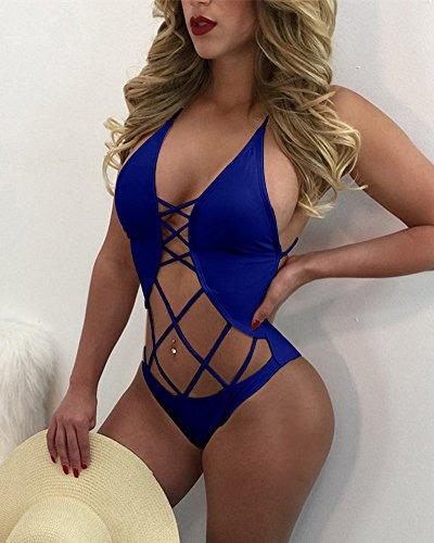 Minetom Donne Sexy Bendaggio Griglia Halterneck Un Pezzo Costume Da Bagno Bagnarsi Spingere In Su Imbottito Bikini Monokini Spiaggia Profondo Blu