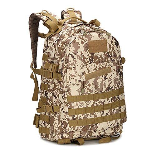 LF&F Militär-Fan Tarnung Bergsteigen Tasche taktischen Rucksack Outdoor-Camping-Tasche militärischen Rucksack Wanderrucksack wasserdichte große Kapazität Casual Laptop Rucksack H