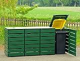 4er Mülltonnenbox / Mülltonnenverkleidung 120 L Holz, Deckend Geölt Tannengrün