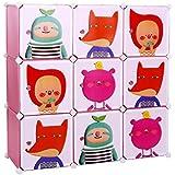 Songmics DIY Armoire Penderie Cubes/étagère de rangement modulables plastiques imprimé cadre en métal pour enfant LPC33P