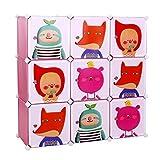 Songmics Kinderregal Spielzeugkiste Garderobenschrank Wäscheschrank Kleiderschrank Kapazität Regalsystem 450L Pink LPC33P