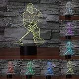 Hockey sobre hielo unidad 3d luz de noche LED 7Color Cambiante, táctil lámpara de mesa Noche Décor Luminaire para niños lámpara de noche regalo cumpleaños