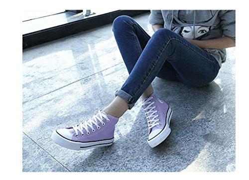 ALUK- Version coréenne de la haute Aide Chaussures de toile occasionnels chaussures d'étudiant ( couleur : Blanc , taille : 36 ) Violet
