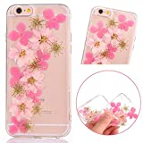 PLECUPE iPhone 6s Plus Klar Handycover, iPhone 6 Plus Silicone Hülle, Floral Flower 3D Handgefertigt Echt Blume Weich TPU Silikon Transparent Hülle Tasche Etui für iPhone 6 Plus/6s Plus, Blumen#12
