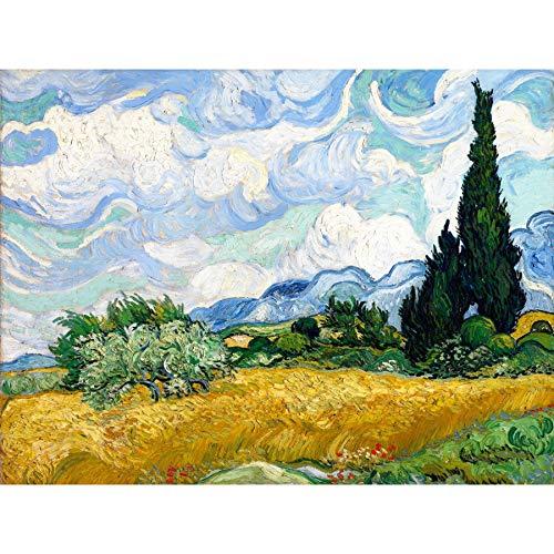 Vincent Van Gogh Wheat Field with Cypresses Large Art Print Poster Wall Decor Premium Mural Feld Große Kunst Wand Deko