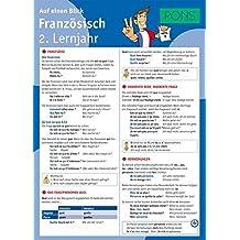 PONS Französisch 2. Lernjahr auf einen Blick: Die kompakte Übersicht für das ganze Schuljahr. 6 Seiten laminiert zum Aufklappen