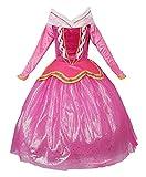 JerrisApparel Rosa Prinzessin Aurora Kleid Kostüm Mädchen Party Kleid (150cm, Rosa)