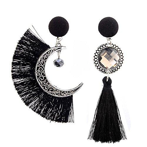 danapp Vintage Moon Asymmetrische im Folk-Stil mit Quaste Diamant Ohrringe für weibliche, Schwarz, 1 -