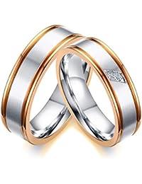 Vnox 2 piezas de acero inoxidable cúbicos Zirconia diamante Compromiso Compromiso compromiso conjuntos de anillos para el amor de los pares