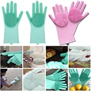 Lukzer 1 Pair Silicone Cleaning Brush Scrubber Gloves (Random Colour) for Dishes, Car and Pet, Dish wash