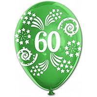 20 pallone PALLONCINI in LATTICE stampa numero 60 colori assortiti - decorazione addobbo per feste, party, compleanno, 60 anni, anniversari ecc. - 60 ° Compleanno Palloncini