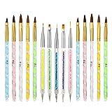 Bolonbi 15 Pcs Acrylic Nail Brush, UV Gel Nail Painting Brush Nail Art Tips Builder Brush and Gel Painting Dotting Acrylic Nail Brush Pens