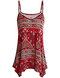 d050632a193 SOLERSUN Womens Summer Sleeveless V Neck Spaghetti Strap Printed Cami Swing  Irregular Tops