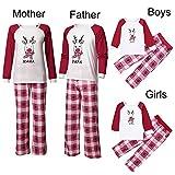 YEARNLY Weihnachtsmama & Papa & ich Kinder Jungen Hirsch Plaid Brief Familie Set Kleidung Langarm Weihnachten Brief Hirschkopf Plaid Print Top + Pants Set