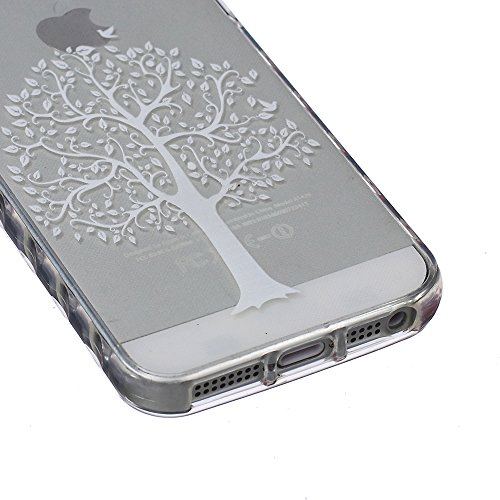 AllDo TPU Silikon Schutzhülle für iPhone 6/6S (4.7 Zoll) Weiche Hülle Transparente Handyhülle Klare Schutzhülle Ultra Dünne Glatte Schale Flexible Schlanke Tasche Soft Silicone Case Cover Einzigartige Weiß Baum des Lebens