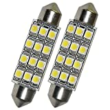 Sanwood 2Auto Dome 3528-SMD LED-Licht Innen Soffitte Lampe 42mm Weiß