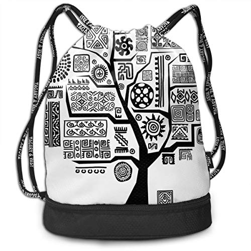 DPASIi Drawstring Backpacks Daypack Bags,Ethnic Tree with Arabesque Tribal Effects Branch Culture Folk Aztec Motif Print,Adjustable String Closure Aztec Cup