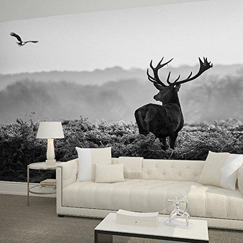 JSLCR Tapete Tapete 3D Wandbild von Sika Hirsche in Nordeuropa Vintage Art schwarzen und weißen Mauern,Mosaik
