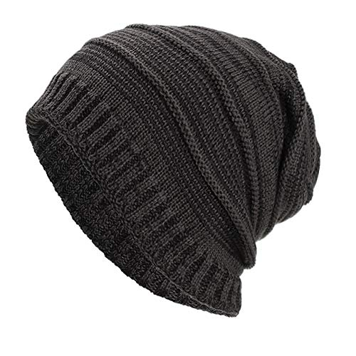 Ouneed Strickmützen Damen Winter,Herren Frauen Warm Baggy Weave Crochet Winter Wolle Knit Ski Beanie Skull Caps Hut (Grau) Crochet Knit Beanie Skull Cap