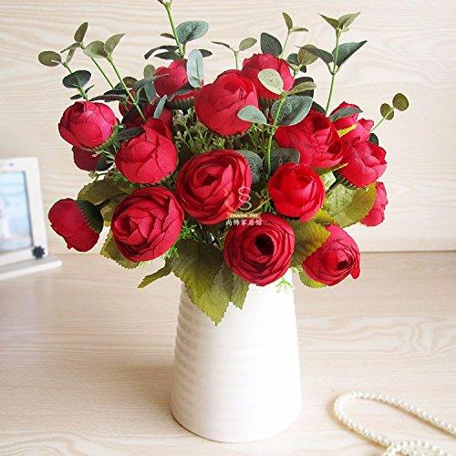 XCZHJ Flores Decorativas Artificiales Florero de Camelia Artificial Cerámica Estilo Rural Rojo Los Productos de Flores…