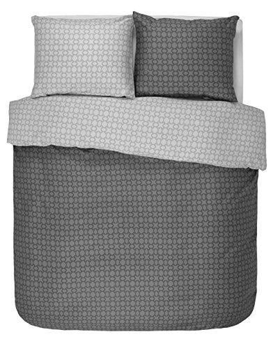 Esprit Mako-Satin Wendebettwäsche Spark anthracite 200x200 cm + 2x 80x80 cm (auch andere Größen erhältlich)