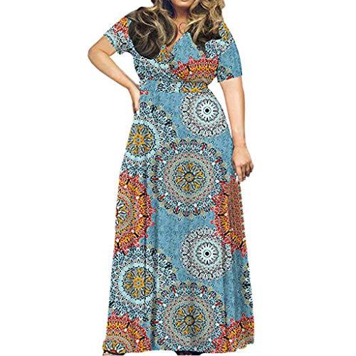Binggong Damen Kleider Blumen Kleid Elegant Langarm Maxikleid Floral Print Böhmischen Strandkleid Blumenkleid Blumedrucken V-Ausschnitt High Waist Kurzarm Druckkleid