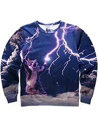 Pizoff Unisex Hip Hop Digital Print Sweatshirts mit Katzen Animation 3D Muster