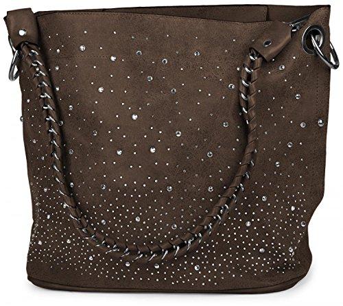 styleBREAKER Handtaschen Set mit Strass Applikation im Sternenhimmel Design, 2 Taschen 02012013, Farbe:Dunkelbraun -