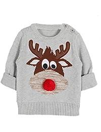 belababy Kids Sudadera de Navidad diseño de ciervo impresión tejer Jersey
