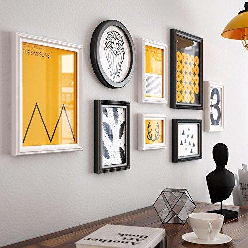 Preisvergleich Produktbild HJKY Photo Frame Wall Set Massivholz moderne, minimalistische creative Foto Wand Dekorationen der Hintergrund der Schlafzimmer Wohnzimmer Wohnwand Feld 8 Bilderrahmen, Schwarz und Weiß und 8 Box +