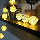 Lampe de rotin tissée par Zoeson/guirlandes lumineuses 3 m / 9.8ft 20 LED chauds boules de rotin blanches chaudes guirlandes à piles alimentées pour la chambre à coucher d'intérieur