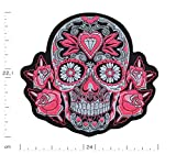 Écusson brodé Crâne Tête de Mort Rose - 22,1 cm x 24 cm Grande taille XL - Pink Skull Patch Iron on Patches Sew on Ecussons Imprimés Thermocollants Appliques Applications Sur Vêtements Sac à dos Veste Jeans Chapeau Hoodie – Treasure-Quest