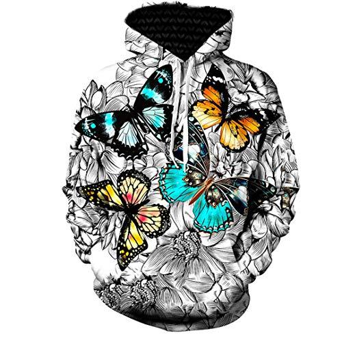 Butterfly Bio-kinder-t-shirt (BaolaBei Butterfly 3D Hoodie Sweatshirt Herren Damen Langarm Herbst Winter Sportbekleidung Hoodies Men 5XL)