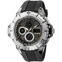 UphasE – UP702-200 – Men's Quartz Analogue and Digital Watch – Black Plastic Strap