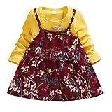 Deloito Herbst Winter Kleinkind Baby Kleidung Kinder Mädchen Freizeit Langärm Rüschen Geraffte Blumen Stickerei Patchwork Fälschung Zweiteiliges Party Kleid (Gelb,L/18-24 M)