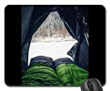 Mouse Pads - Green Sleeping Bag Tent Camping Cold Winter Snow