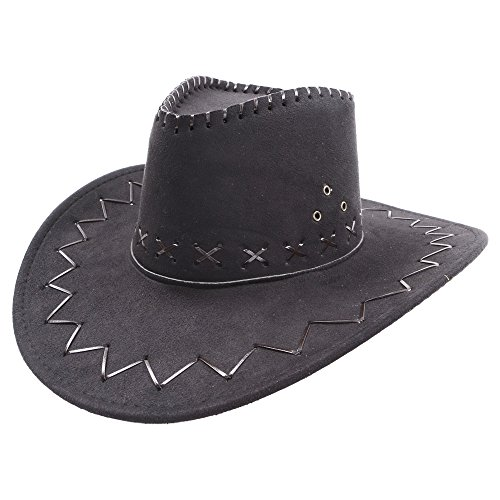 Deluxe Suede Cowboy Hat Unisex Western Fancy Dress Black Or Brown