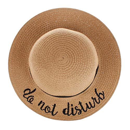 Kinder Fedora Hut mit Brief Stickerei Sonnenhut Lonshell Faltbarer Strohhut Mütze für 3-12 Jahre altes Baby Strand Sonnenhut mit Sonnenschutz breite Krempe (D)