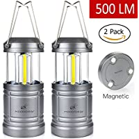 LED Tent Light Camping Lantern - Moobibear 500lm Portable Lamp with Magnetic Base, 30 LEDs COB Technology Battery Powered Water Resistant Collapsible Lantern for Night Fishing, Hiking, Emergencies, 2 Pack