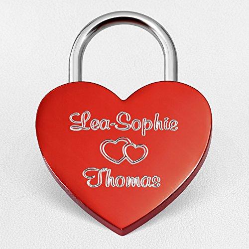 *Herz Liebesschloss Rot mit Wunsch-Gravur beidseitig ♥ Inkl. gratis Geschenkbeutel, Geschenkbox & Geschenkkarte*