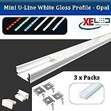 2 Metros Blanco Gloss Mini U-Line Aluminio LED Perfil/extrusión/Canal con ópalo (Milky) difusor para Montaje Flexible Tira de luz LED, Aluminio, 3 x Lenghts