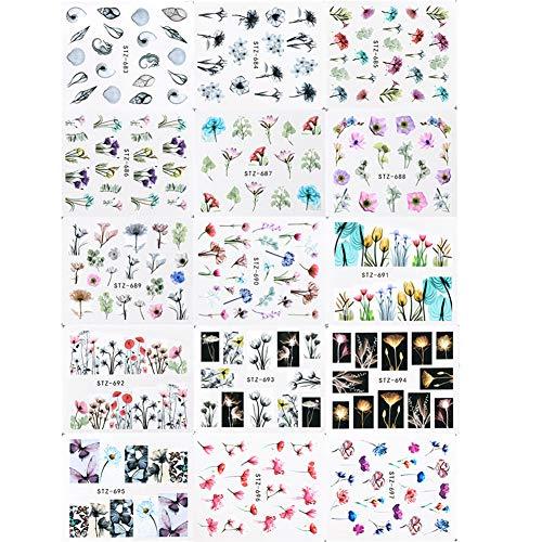 Newin star 24 fogli adesivi per unghie inchiostro fiore applique nail art decalcomania manicure filigrana