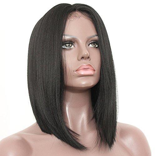 Platinumhair Noir Couleur court Bob droite Perruques synthétiques Lace Front Perruques sans colle résistant à la chaleur 35,6 cm