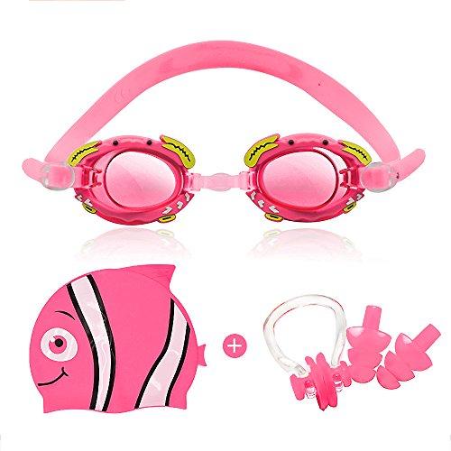 StillCool Gafas de Natación para Niños Silicona, a prueba de agua, antivaho y anti-UV Con sombreros, clips para la nariz, tapones para los oídos(Edad 4-12años) (rosa)