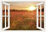 Artland Qualitätsbilder I Wandtattoo Wandsticker Wandaufkleber 130 x 90 cm Blumen Mohnblume Foto Rot B7VN Fensterblick Mohnblumenfeld Bei Sonnenuntergang