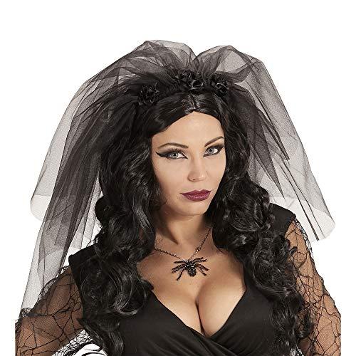 Widmann 46909 Schleier Schwarze Witwe, Damen, Taglia unica (Schwarze Spinnenfrau Kostüm)