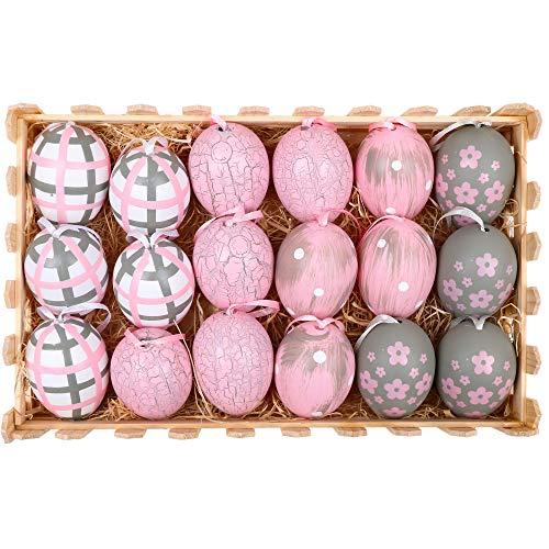 n Deko Ostereier Kunststoff 18er Set 6cm Plastikeier Ostern Dekoration mit Anhänger und Holz Gatter Box für Frühling Gartendeko Grau Rosa Weiß MEHRWEG Verpackung ()