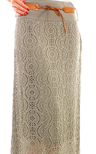 Damen Jersey Netzrock Lang Khaki